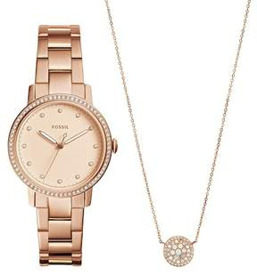 Fossil Women's Neely Crystal Accented Bracelet Watch & Necklace Set, 35mm