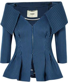 Fendi Pinstriped Off-the-shoulder Cotton-blend Twill Blazer - Navy