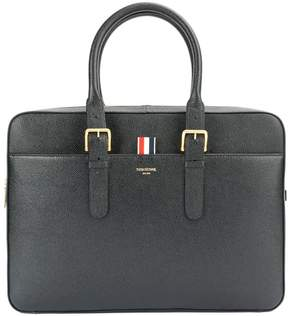 Thom Browne Business Bag In Black Pebble Grain