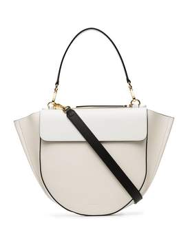 Hortensia Wandler white and nude medium leather shoulder bag