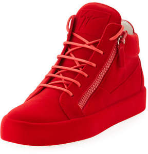Giuseppe Zanotti Men's Flocked Leather Mid-Top Sneakers