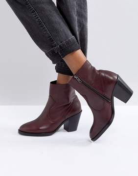Office Angie Burgundy Heeled Leather Ankle Boots