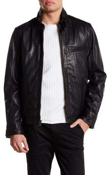 Cole Haan Washed Genuine Leather Moto Jacket