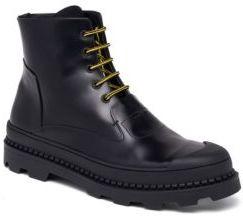 Fendi Palladium Calf Leather Combat Boots