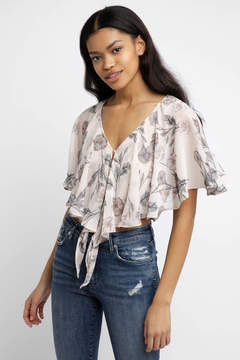 Astr Jasmine Blush Ruffle Top
