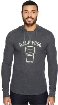 Life is Good Half Full Arc Hooded Waffle Pullover Men's Long Sleeve Pullover