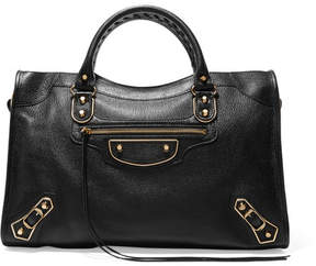 Balenciaga Metallic Edge City Textured-leather Tote - Black