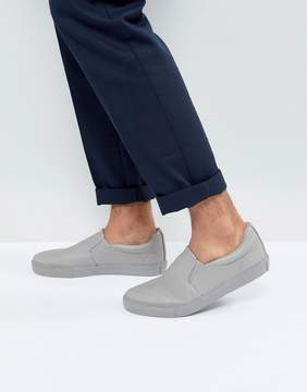 Asos Slip On Sneakers In Gray With Gray Sole