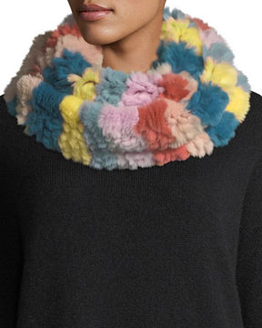 Jocelyn Horizontal Stripe Knitted Fur Infinity Scarf