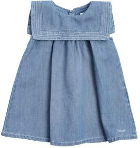 Chloé Sailor Collar Cotton Chambray Dress