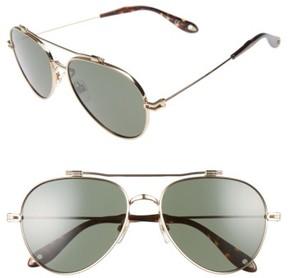 Women's Givenchy 58Mm Aviator Sunglasses - Gold