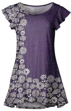 Lily Purple & White Floral Flutter-Sleeve Tunic - Women & Plus