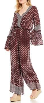 Chelsea & Violet Long Bell Sleeve Printed Jumpsuit