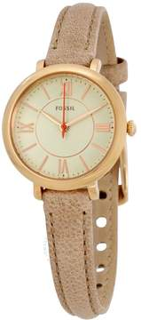 Fossil Jacqueline Silver Dial Sand Leather Ladies Watch
