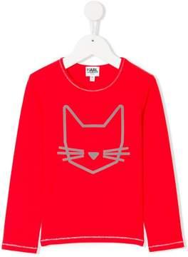 Karl Lagerfeld cat print long sleeve shirt