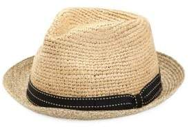 Saks Fifth Avenue Collection Raffia Fedora Hat