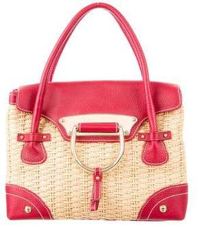 Dolce & Gabbana Leather-Trimmed Straw Bag - NEUTRALS - STYLE