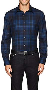 Luciano Barbera Men's Checked Cotton Twill Shirt