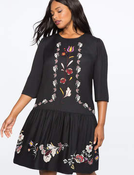 ELOQUII Embroidered Drop Waist Dress