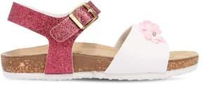 MonnaLisa Glittered Leather Sandals W/ Flowers