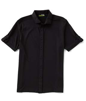 Murano Solid Knit Performance Short-Sleeve Woven Shirt