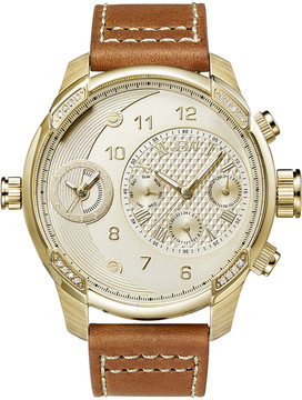 JBW G3 Gold-tone Stainless Steel Diamond Case Brown Leather Strap Men's Watch
