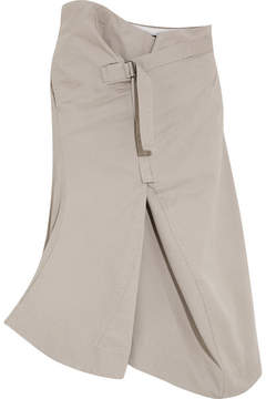 Bassike Asymmetric Cotton-drill Skirt - Taupe