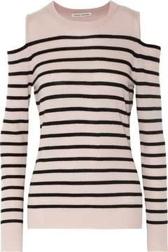 Autumn Cashmere Cold-Shoulder Striped Cashmere Sweater