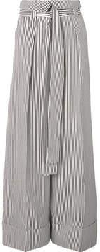 Petar Petrov Haven Striped Silk-satin Wide-leg Pants - White