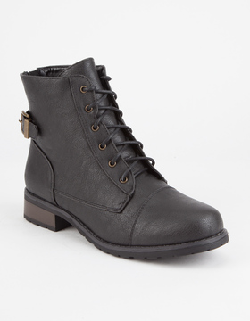 Bamboo Back Zip Womens Combat Boots