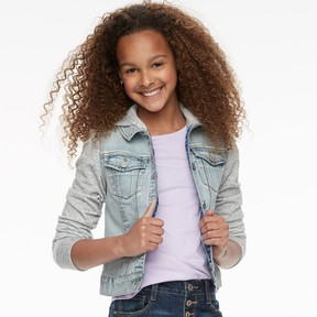 Mudd Girls 7-16 Knit Sleeve Denim Jacket