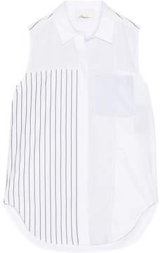 3.1 Phillip Lim Patchwork Striped Cotton-poplin Top - White
