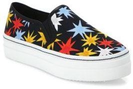 Alice + Olivia Sasha Star-Print Canvas Platform Skate Sneakers