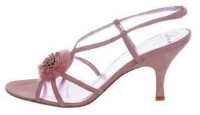 Delman Fur-Accented Slingback Sandals
