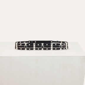 Maje Leather belt with stones