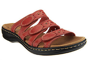 Clarks As Is Bendables Leisa Cacti Leather Triple Strap Slides
