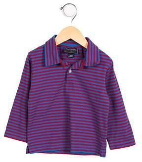 Oscar de la Renta Girls' Striped Pointed Collar Top