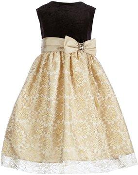 Jayne Copeland Big Girls 7-12 Solid Velvet/Patterned Lace A-Line Dress