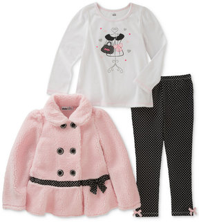 Kids Headquarters 3-Pc. Faux-Fur Jacket, Printed T-Shirt & Dot-Print Leggings Set, Baby Girls (0-24 months)