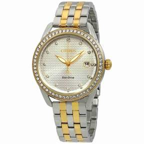 Citizen LTR Silver Dial Ladies Two Tone Crystal Watch FE6114-54A