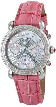 JBW Victory Diamond Bezel Chronograph Mother of Pearl Dial Pink Leather Strap Ladies Watch