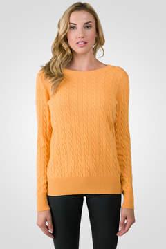 J CASHMERE Apricot Cashmere Cable-knit Crewneck Sweater