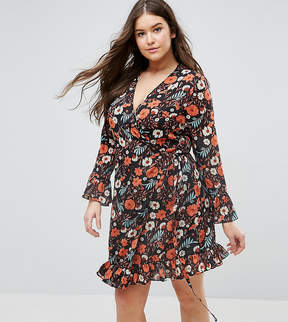Alice & You Floral Printed Tea Dress With Frill Detail