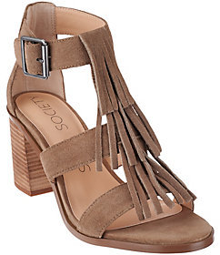Sole Society As Is Suede Fringe Block Heel Sandals - Delilah