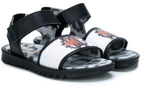 Roberto Cavalli velcro strap logo sandals