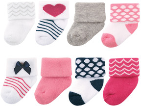 Luvable Friends Pink & White Stripe Eight-Pair Socks Set - Infant