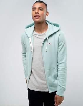 Hollister Zip Through Hoodie Regular Fit Seagull Logo in Turquoise Marl