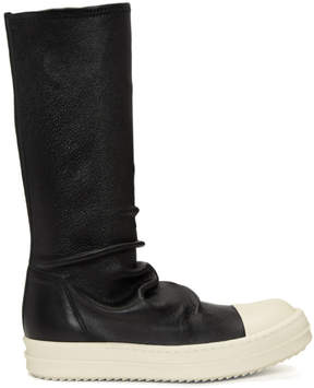 Rick Owens Black and White Leather Sock Boots