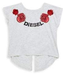Diesel Little Girl's Embroidered Cut-Out Dolman-Sleeve Top