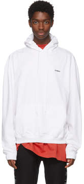 Vetements White Embroidered Logo Hoodie